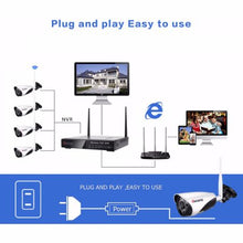 Load image into Gallery viewer, 720p Wireless Security Camera System 2CH Bullet Camera 4 Channel NVR Night Vision Motion Detection Indoor Outdoor NO HDD