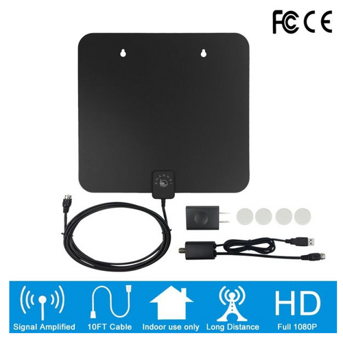 50 Mile Indoor HDTV Antenna with 10ft Coax Cable ,Signal Amplifier Booster, USB Power Adapter