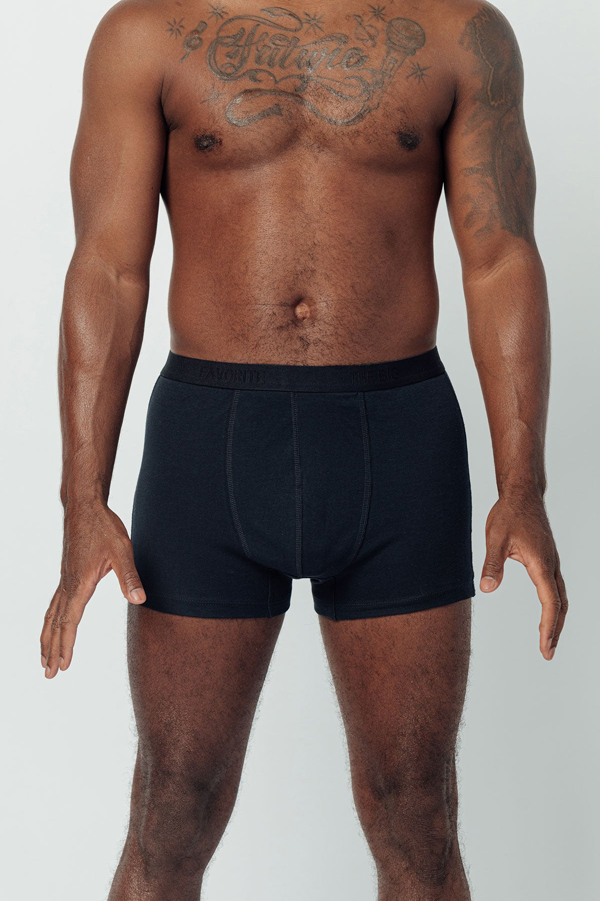 100% Pima Cotton Boxer Brief with stretch elastic and front pouch in Navy color.