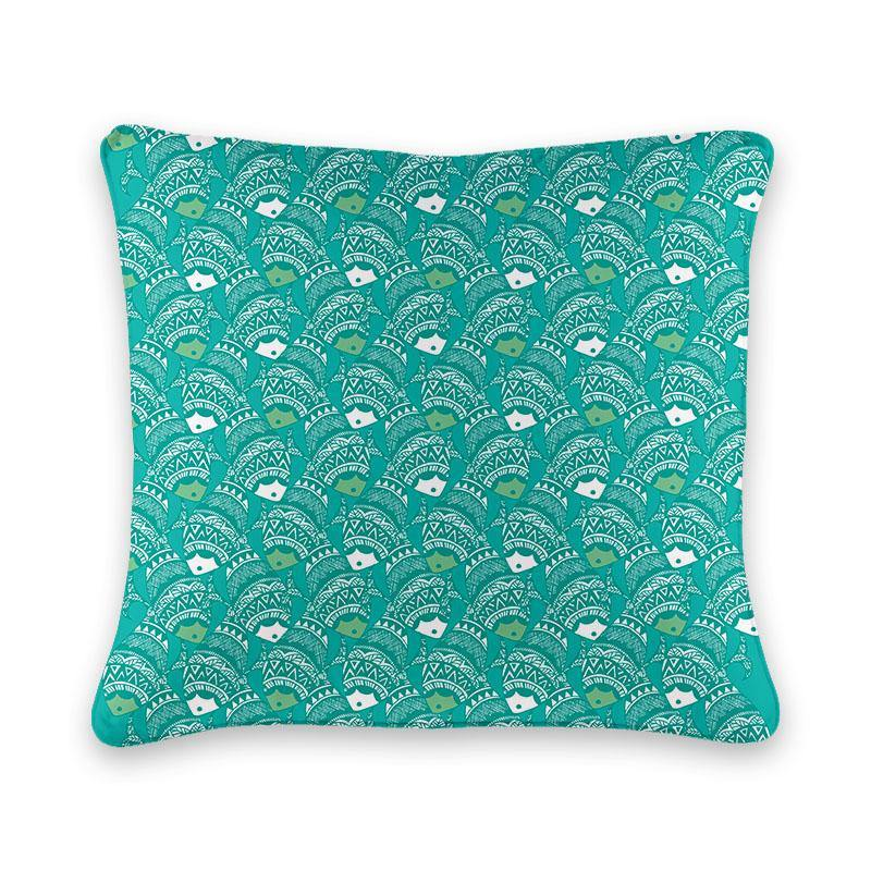 Madhubani Folk Design Fish Cushion Cover - Firefly