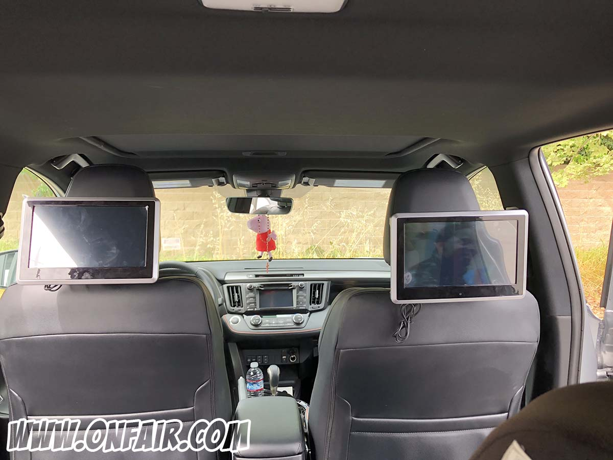 2018 toyota RAV 4 headrest dvd player monitor review install