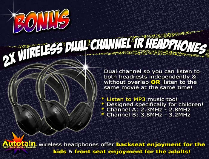 bonus ir wireless headphones for headrest dvd players