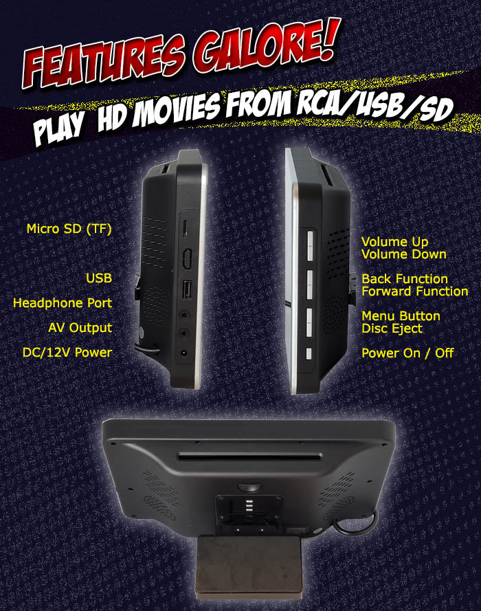 Autotain DESIRE-2020 Universal Headrest DVD Players