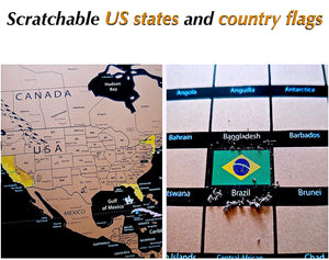 "Large World Travel Scratch Off Map With US States Country Flags +MORE 33"" x 24"""