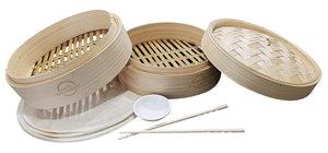 "(2 Pack) 10"" Handmade Bamboo Steamer, 2 Tier Baskets, Vegetables, Dim Sum, Buns, Meat with Chopsticks, 10 Liners & Sauce Dish"