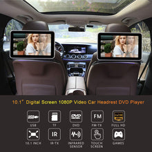 "Load image into Gallery viewer, (Pair) 10.1"" Headrest DVD Player with Touch Screen 1080P USB SD + FREE HEADPHONES"