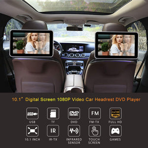 "(Pair) 10.1"" Headrest DVD Player with Touch Screen 1080P USB SD + FREE HEADPHONES"