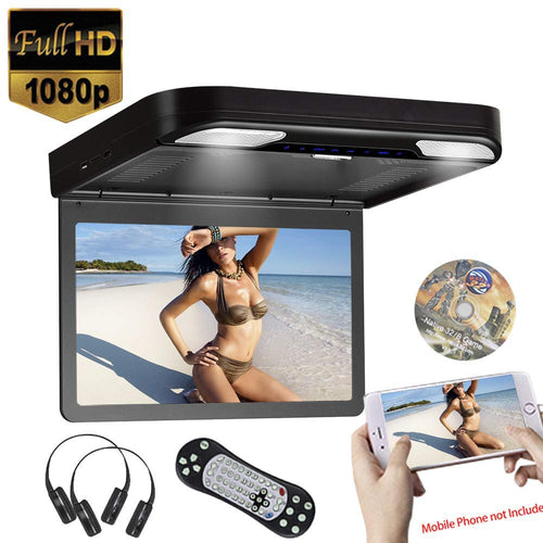 13.3 inch Car Flip Down DVD Player Monitor HD TFT LCD Screen USB SD HDMI (Black)