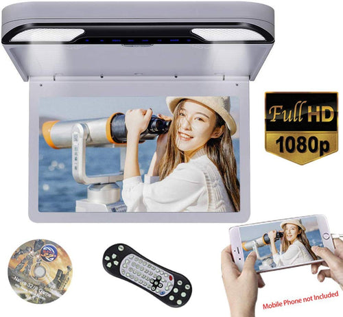 13.3 inch Car Flip Down DVD Player Monitor HD TFT LCD Screen USB SD HDMI (Grey)