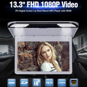 13.3 inch Car Flip Down Monitor HD TFT LCD Screen USB SD HDMI MP5 (Grey)