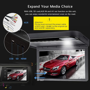 15.6inch 1080P Car Video Roof Mount Overhead DVD Player Flip Down Monitor USB SD HDMI (Black)