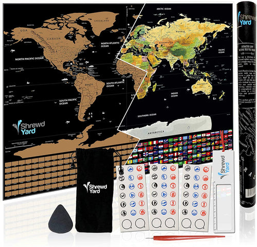 Large World Travel Scratch Off Map With US States Country Flags +MORE 33
