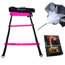 Load image into Gallery viewer, Agility Ladder Bundle 6 Sports Cones, Free Speed Chute, Agility Drills eBook and Carry Case Pink