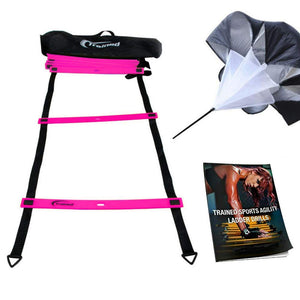 Agility Ladder Bundle 6 Sports Cones, Free Speed Chute, Agility Drills eBook and Carry Case Pink
