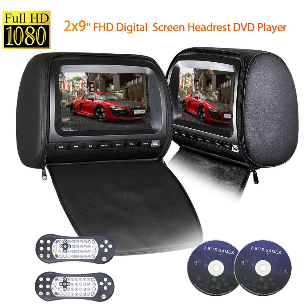 PAIR - 9 inch (Touch Screen) Car Headrest DVD Players with 1080P FM IR Transmitter Games (Black)