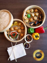 "Load image into Gallery viewer, (2 Pack) 10"" Handmade Bamboo Steamer, 2 Tier Baskets, Vegetables, Dim Sum, Buns, Meat with Chopsticks, 10 Liners & Sauce Dish"