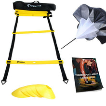Load image into Gallery viewer, Agility Ladder Bundle 6 Sports Cones, Free Speed Chute, Agility Drills eBook and Carry Case Yellow