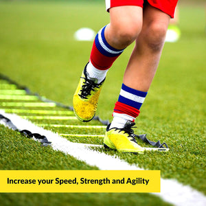 Agility Ladder Bundle 6 Sports Cones, Free Speed Chute, Agility Drills eBook and Carry Case Yellow