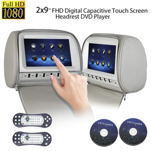 PAIR - 9 inch (Touch Screen) Car Headrest DVD Players with 1080P FM IR Transmitter Games (Grey)
