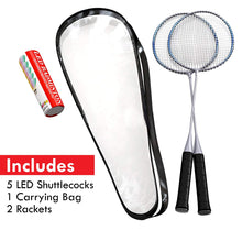 Load image into Gallery viewer, Premium Quality Set of Badminton Rackets with 5 LED SHUTTLECOCKS Carrying Bag Included