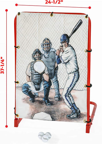 Baseball Pitching Practice Training Net - Includes Net, Frame + Baseballs