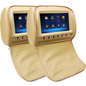 PAIR - 9 inch Car Headrest DVD Players with 1080P FM IR Transmitter Games (Beige)