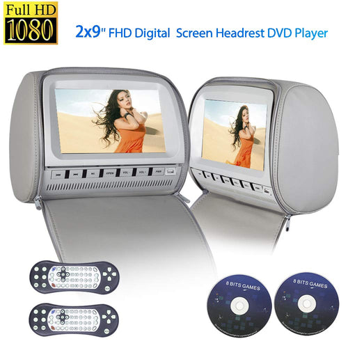 PAIR - 9 inch Car Headrest DVD Players with 1080P FM IR Transmitter Games (Grey)