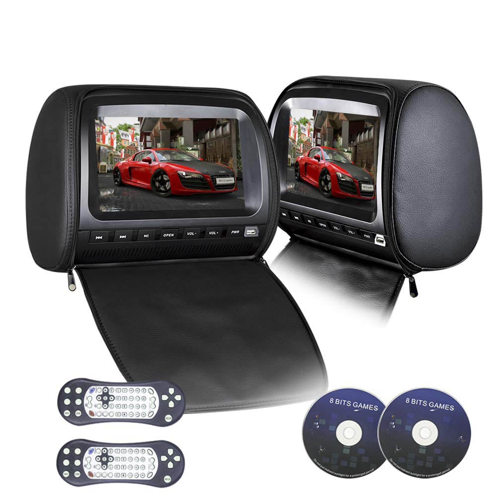 PAIR - 9 inch Car Headrest DVD Players with 1080P FM IR Transmitter Games (Black)