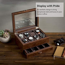 Load image into Gallery viewer, Leather Watch Box Case - Luxury Display Cases for Large Mens Wrist Watches | Dresser Organizer with Jewelry, Sunglasses & Watch Band Storage