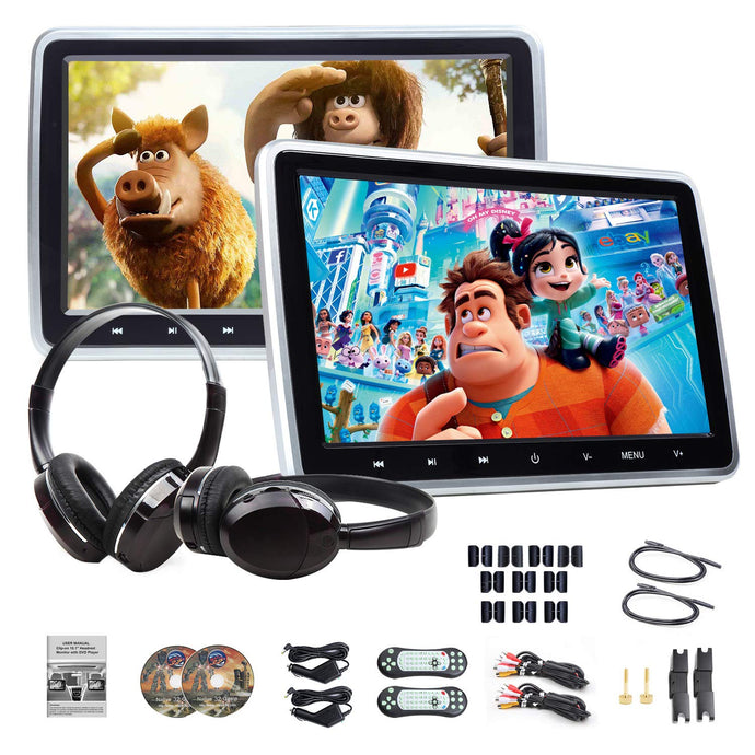 Eonon C1100A 10.1 Inch Headrest DVD Player Pair + IR Headphones
