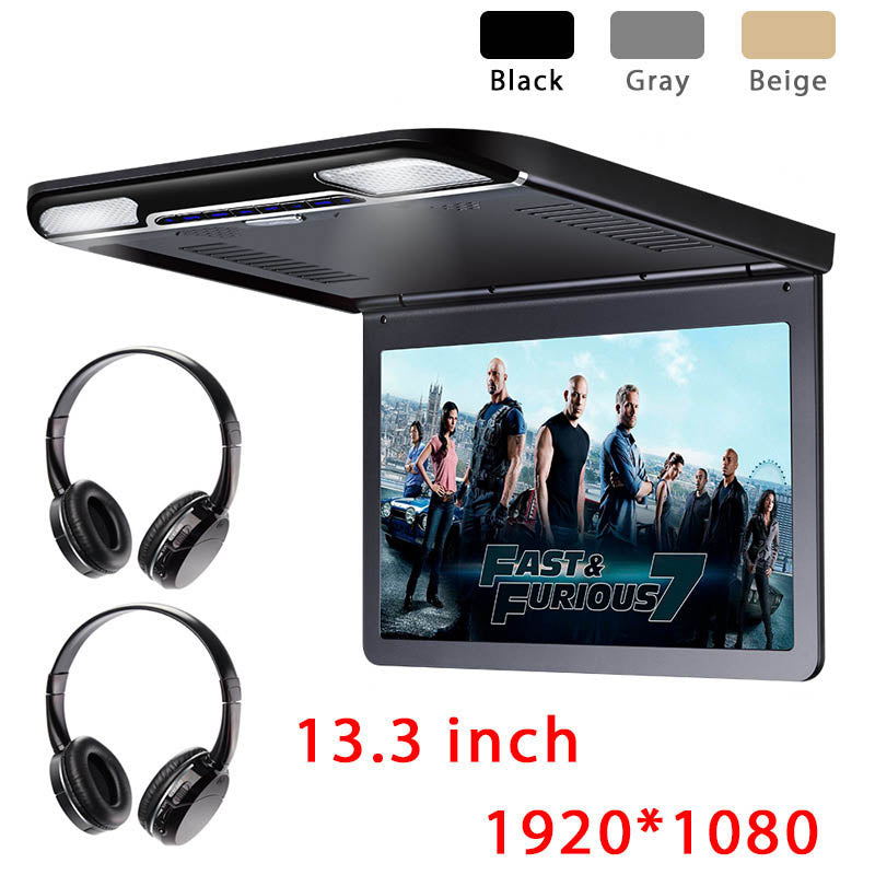 13.3 inch Car Flip Down Monitor HD TFT LCD Screen USB SD HDMI MP5 (Black)