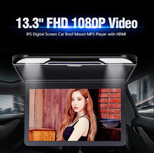 Load image into Gallery viewer, 13.3 inch Car Flip Down Monitor HD TFT LCD Screen USB SD HDMI MP5 (Black)