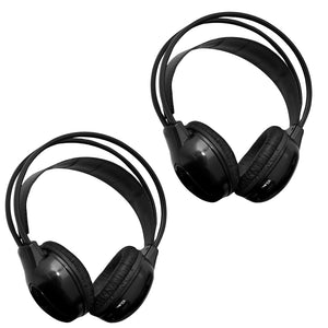 [2 pack] 2 Channel IR Wireless Car Audio Headphone Headset for Headrest DVD Monitors IR-X