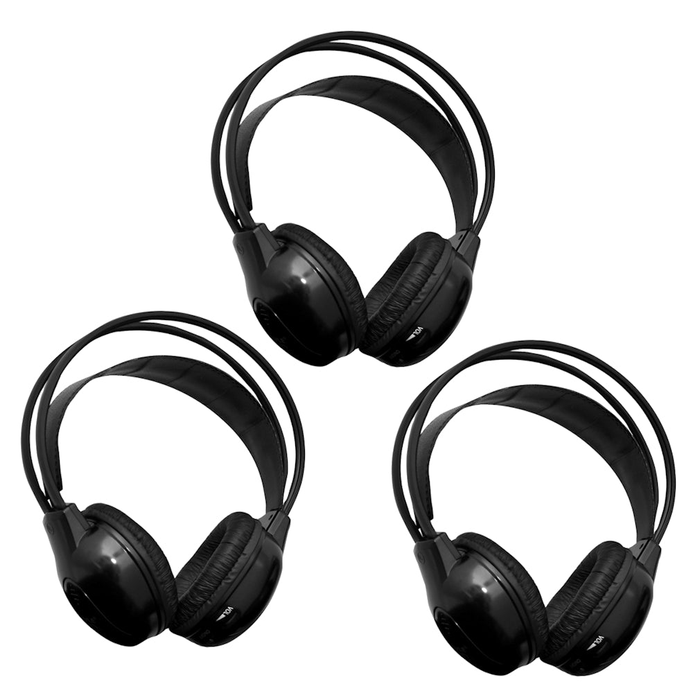 [3 pack] 2 Channel IR Wireless Car Audio Headphone Headset for Headrest DVD Monitors IR-X