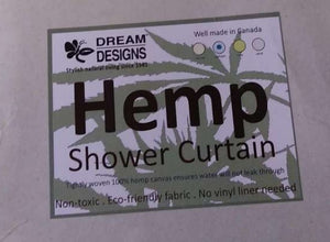 Dream Designs Natural Hemp Canvas Shower Curtain - No Liner Needed - Odor Resistant - Washable (Sea Foam)