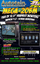 "Load image into Gallery viewer, (NEW) PAIR BMW 12.5"" Android 9 Car Headrest Monitors RSE Screen Mirroring WiFi OEM BRACKET - AUTOTAIN"