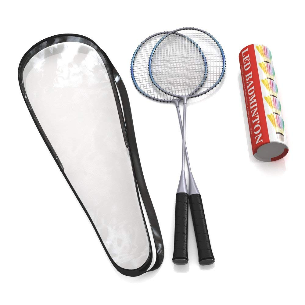 Premium Quality Set of Badminton Rackets with 5 LED SHUTTLECOCKS Carrying Bag Included