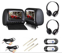 Load image into Gallery viewer, PAIR - 9 inch (Touch Screen) Car Headrest DVD Players with 1080P FM IR Transmitter Games (Black)