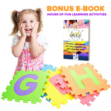 "Load image into Gallery viewer, HUGE SOFT Alphabet Puzzle Play Mat - 36 Pieces + Border + 1/2"" Thick - EVA Foam"