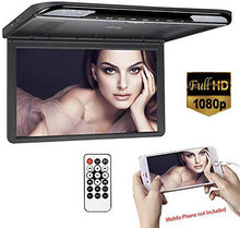 Load image into Gallery viewer, 15.6 inch Thin 1080P Roof Mount Flip Down Monitor USB/SD HDMI FM&IR MP5 (Black)