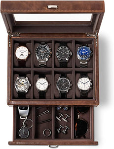 Leather Watch Box Case - Luxury Display Cases for Large Mens Wrist Watches | Dresser Organizer with Jewelry, Sunglasses & Watch Band Storage