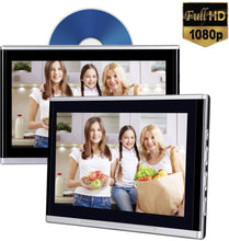 "Load image into Gallery viewer, (Pair) 10.1"" Headrest DVD Player Touch Screen 1080P DVD AV IR/FM Games"