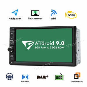 "GA2176 Android 9.0 7"" Multimedia Double 2 Din Car Radio Stereo GPS Nav DAB+ OBD2"