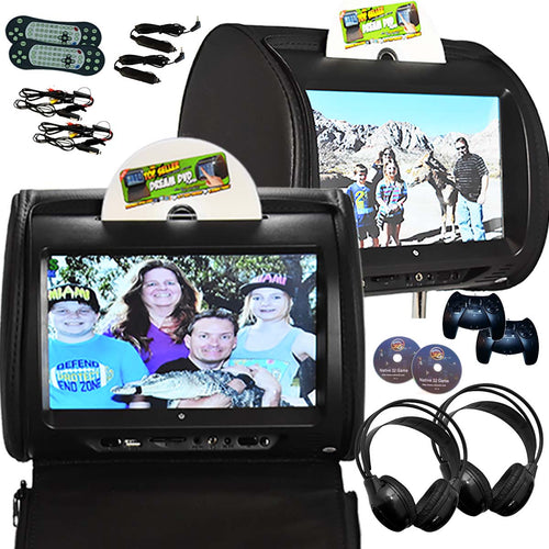 PAIR - Autotain HERO-Y 9 inch Car TV Touch Screen Best Headrest DVD Player Monitor BLACK