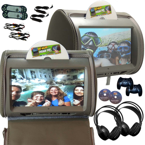 PAIR - Autotain HERO-Y 9 inch Car TV Touch Screen Best Headrest DVD Player Monitor GREY GRAY