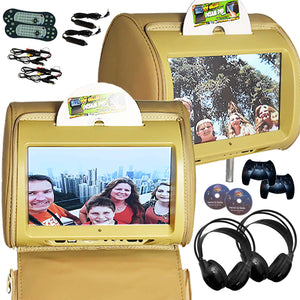 PAIR - Autotain HERO-Y 9 inch Car TV Touch Screen Best Headrest DVD Player Monitor TAN BEIGE