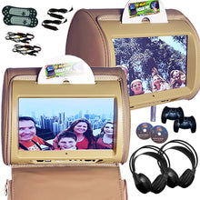 Load image into Gallery viewer, PAIR - Autotain HERO-Y 9 inch Car TV Touch Screen Best Headrest DVD Player Monitor TAN BEIGE
