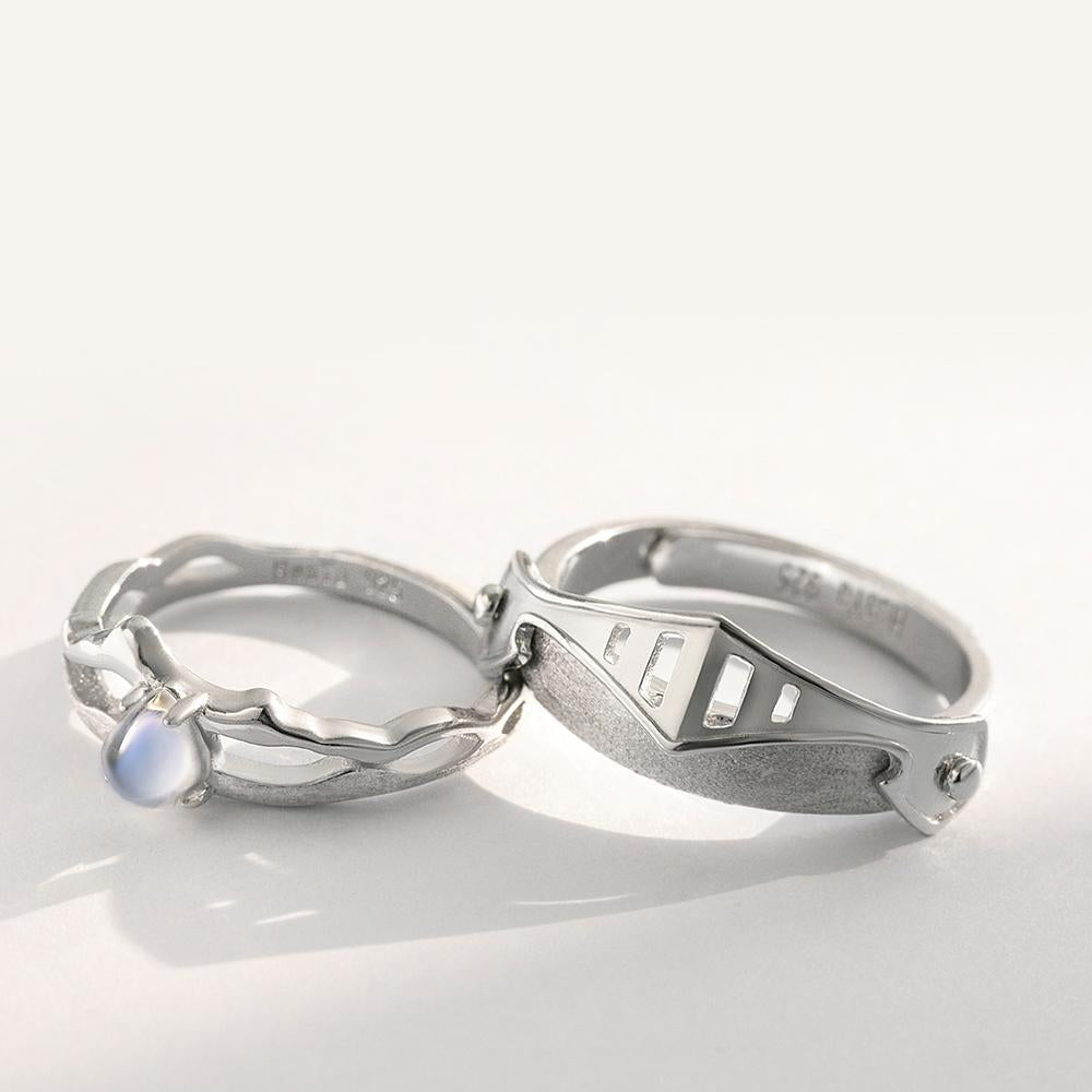 Princess and Knight Personalized Adjustable Open End Couple Ring