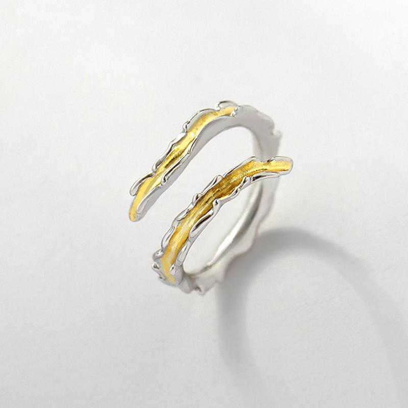 Flowing Like Water Personalized Adjustable Open End Single Ring