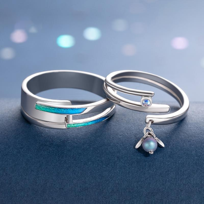 A Midsummer Night's Dream Personalized Adjustable Open End Couple Ring